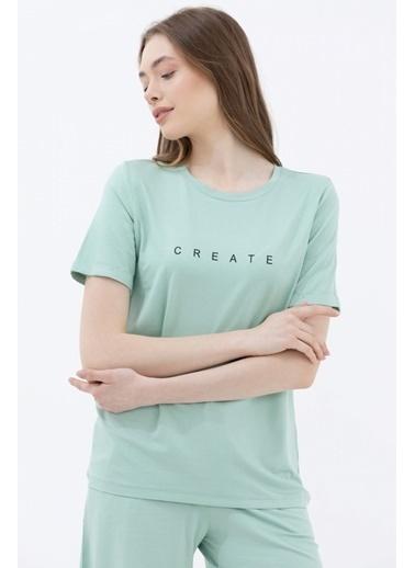 Sementa Baskılı Sıfır Yaka Basic Tshirt - Yeşil Yeşil